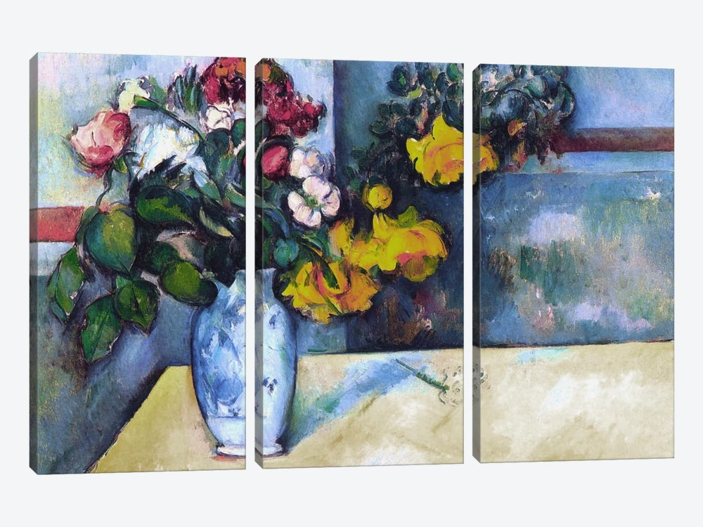 Still Life: Flowers in a Vase by Paul Cezanne 3-piece Art Print