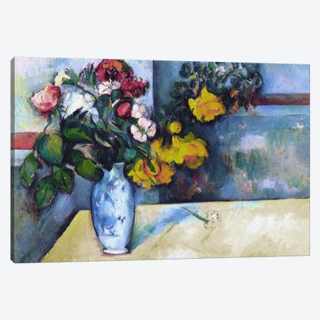 Still Life: Flowers in a Vase 3-Piece Canvas #1851} by Paul Cezanne Canvas Art Print