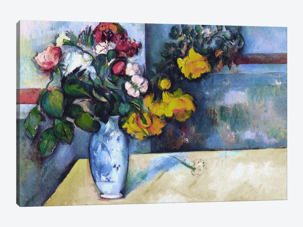 Still Life: Flowers in a Vase by Paul Cezanne 1-piece Canvas Print
