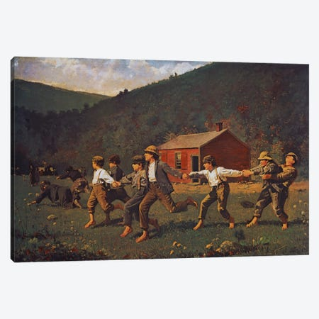 Snap The Whip Canvas Print #1854} by Winslow Homer Canvas Wall Art
