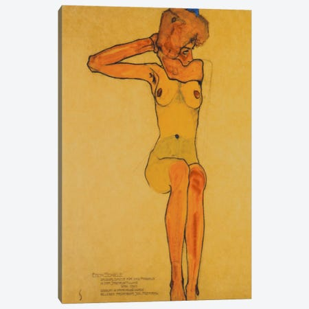 Seated Female Nude with Raised Right Arm Canvas Print #1863} by Egon Schiele Canvas Art