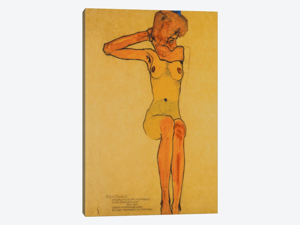 Seated Female Nude with Raised Right Arm by Egon Schiele 1-piece Canvas Art