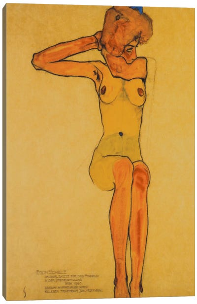 Seated Female Nude with Raised Right Arm Canvas Art Print