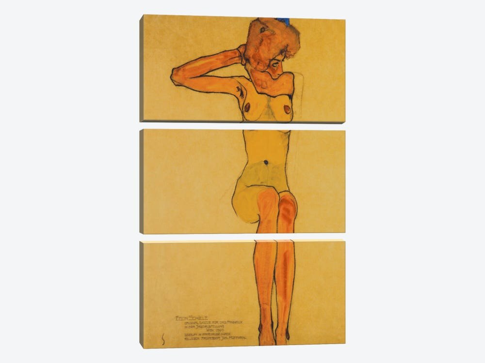 Seated Female Nude with Raised Right Arm by Egon Schiele 3-piece Canvas Art