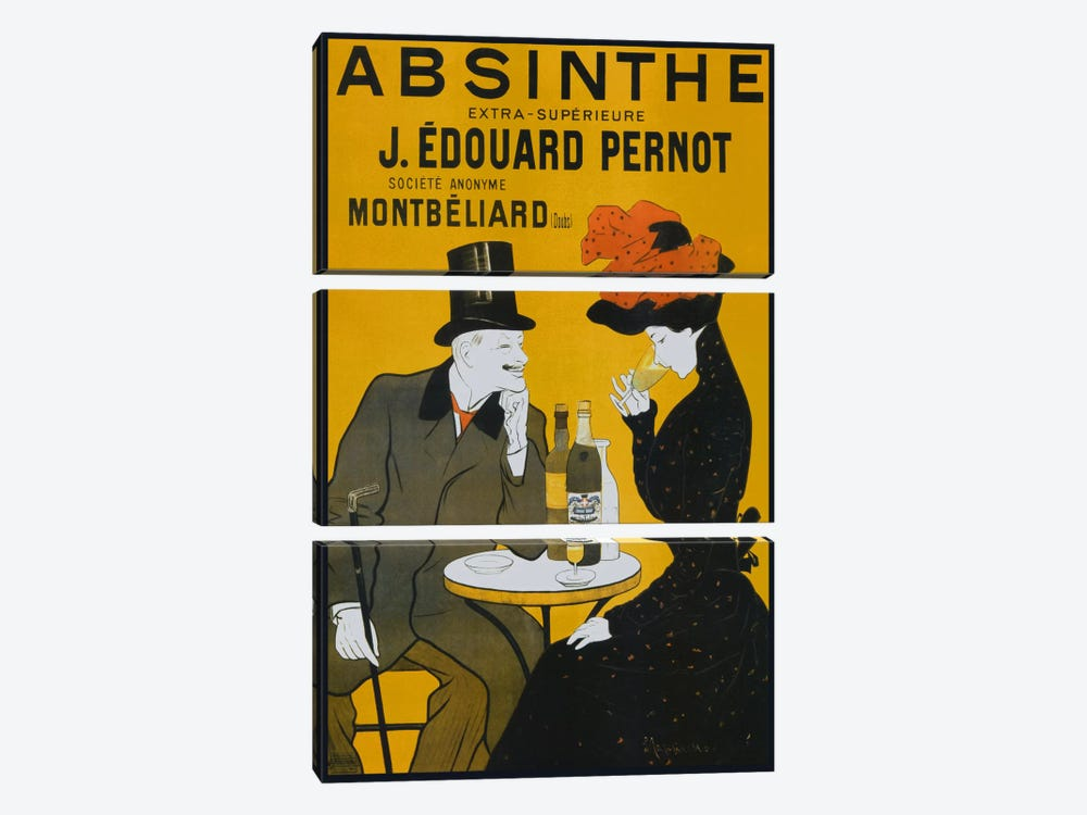 Absinthe, Pernot - Vintage Poster by Vintage Apple Collection 3-piece Canvas Print