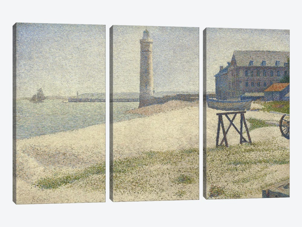 The Lighthouse at Honfleur by Georges Seurat 3-piece Canvas Wall Art