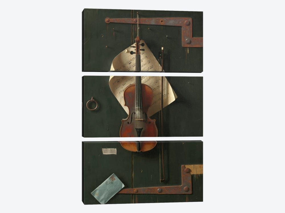 The Old Violin by William Michael Harnett 3-piece Canvas Art Print