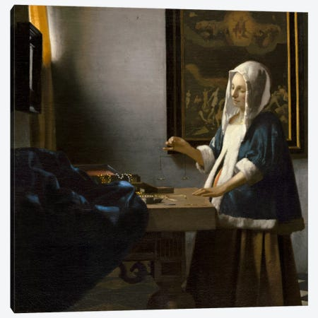 Woman Holding a Balance Canvas Print #1881} by Johannes Vermeer Canvas Wall Art