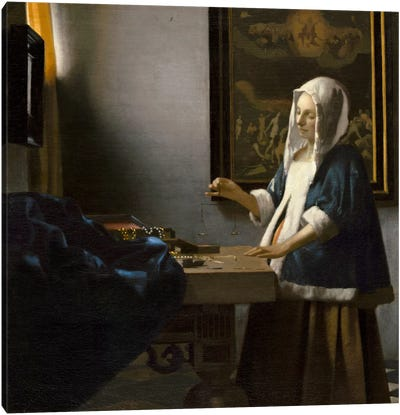 Woman Holding a Balance by Johannes Vermeer Canvas Wall Art
