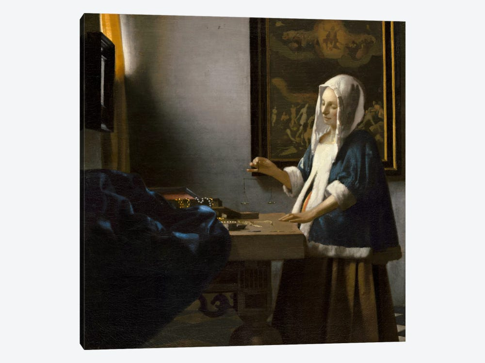 Woman Holding a Balance by Johannes Vermeer 1-piece Canvas Art