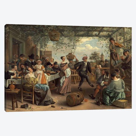 The Dancing Couple Canvas Print #1888} by Jan Steen Canvas Wall Art