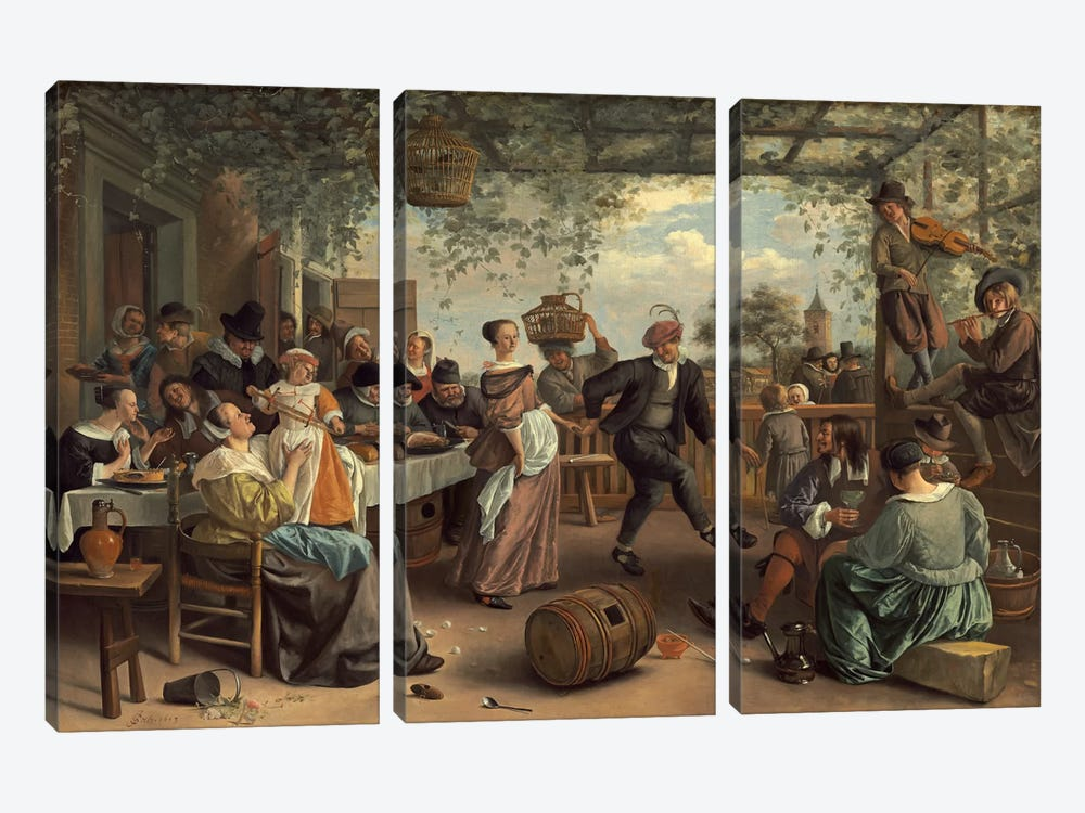 The Dancing Couple by Jan Steen 3-piece Art Print