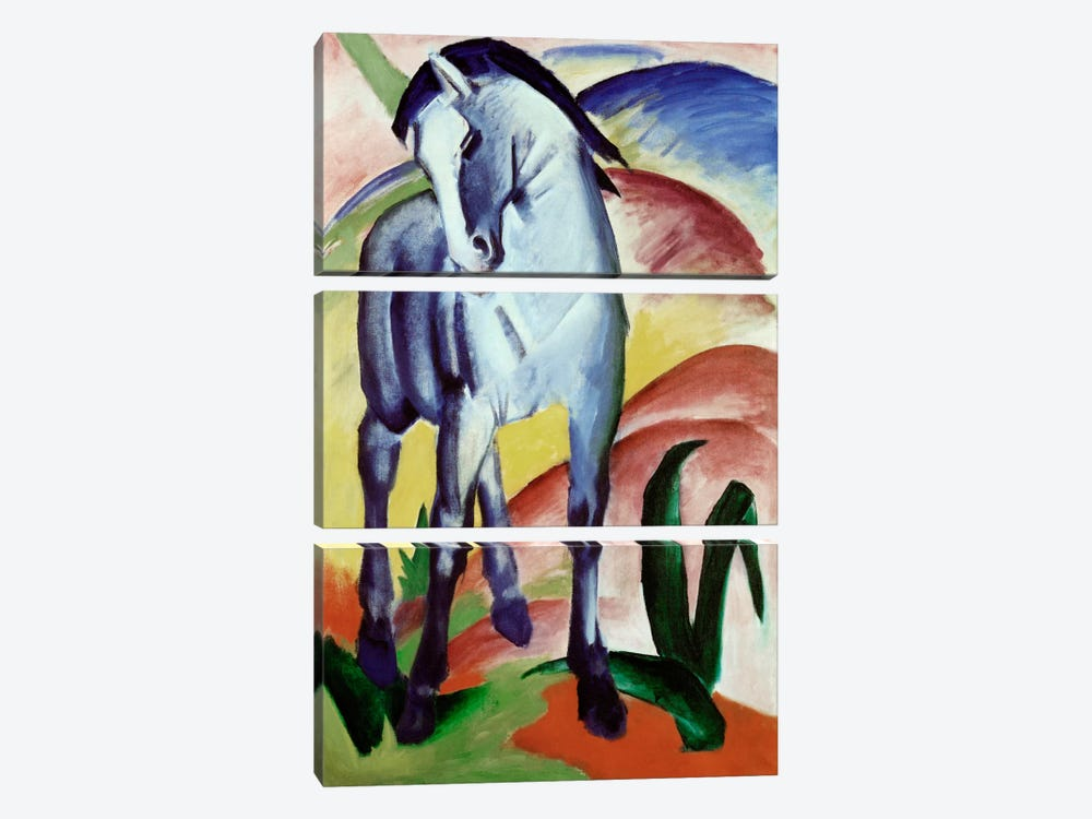 Blue Horse by Franz Marc 3-piece Canvas Art
