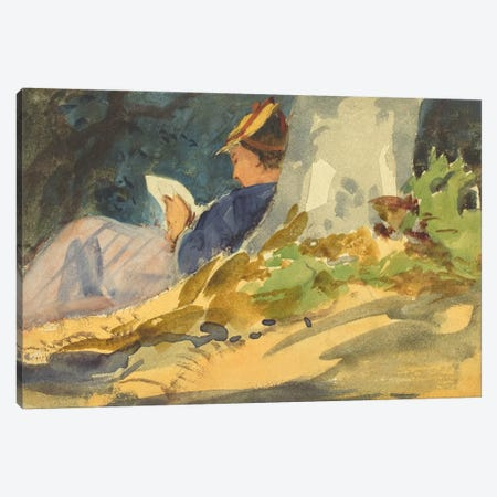 Woman Reading a Book in Nature Canvas Print #1912} Canvas Artwork
