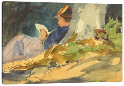 Woman Reading a Book in Nature Canvas Print #1912