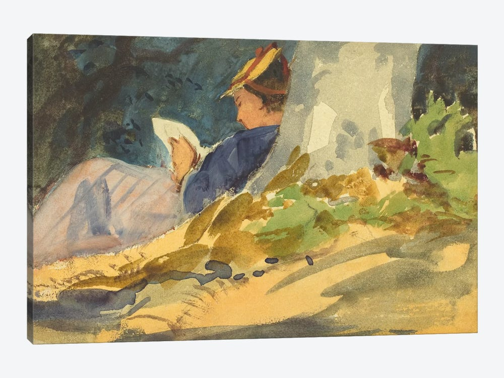 Woman Reading a Book in Nature 1-piece Canvas Art Print