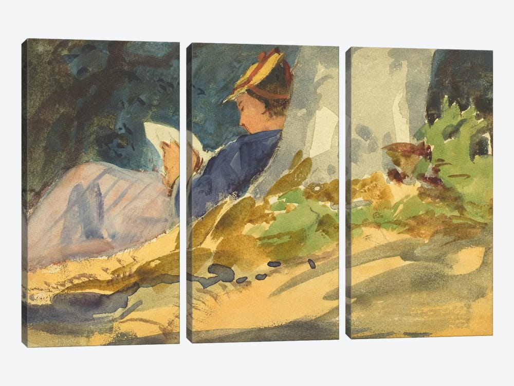 Woman Reading a Book in Nature 3-piece Art Print