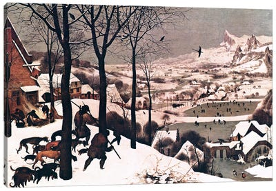 Hunters in The Snow Canvas Art Print