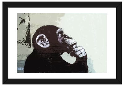 The Thinker Monkey Framed Art Print