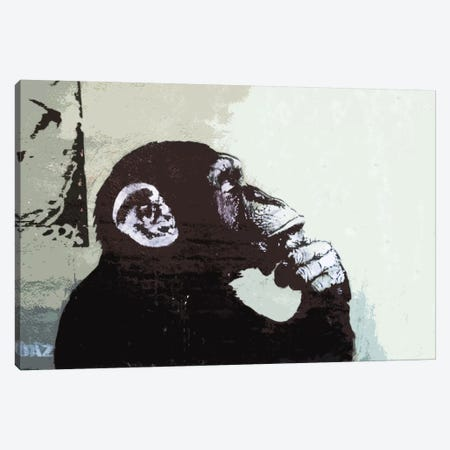 The Thinker Monkey Canvas Print #2012} by Banksy Canvas Print