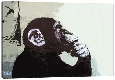 The Thinker Monkey by Banksy Canvas Print