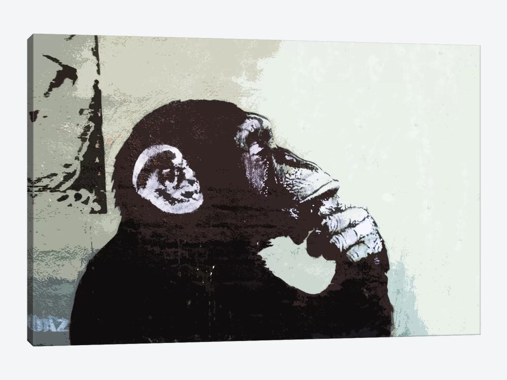 The thinker monkey canvas art print by banksy icanvas for Black and white mural prints