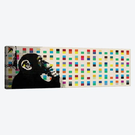The Thinker Monkey Color Dots Panoramic Canvas Print #2012B} by Unknown Artist Canvas Print