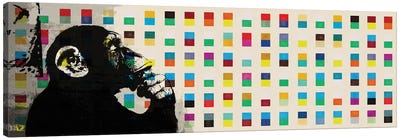 The Thinker Monkey Color Dots Panoramic Canvas Art Print