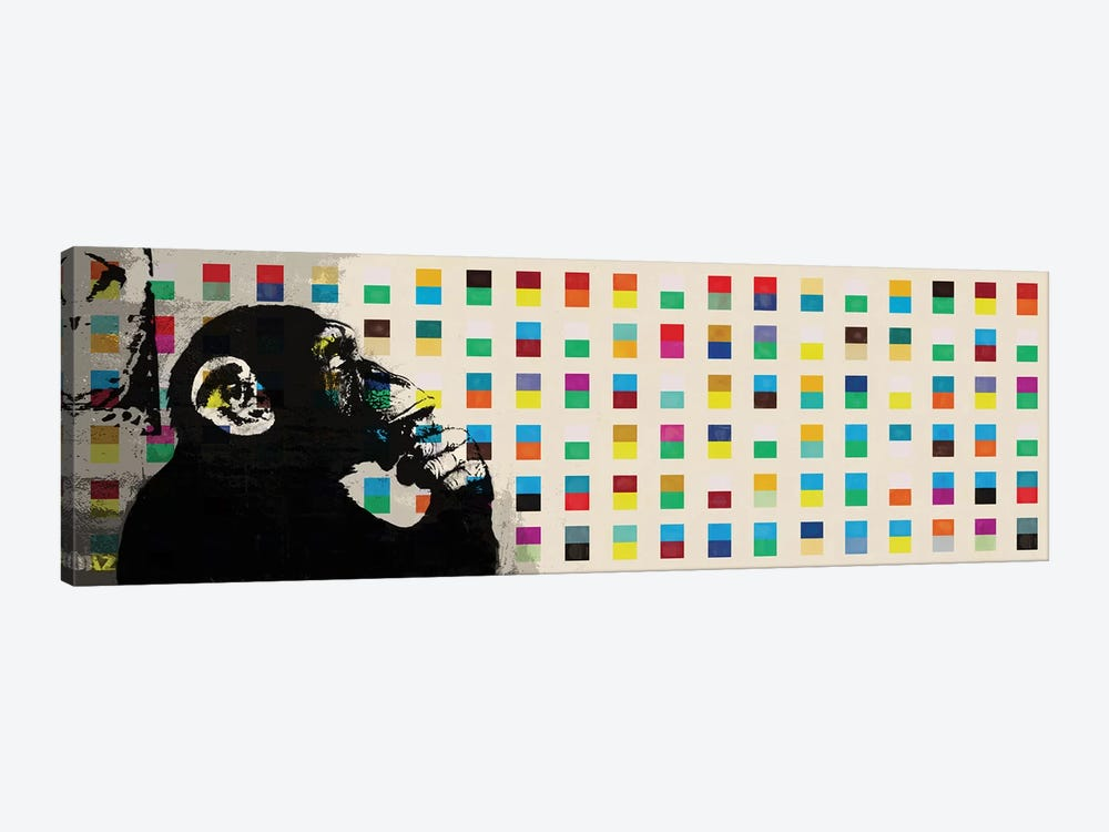 The Thinker Monkey Color Dots Panoramic by Banksy 1-piece Canvas Art Print