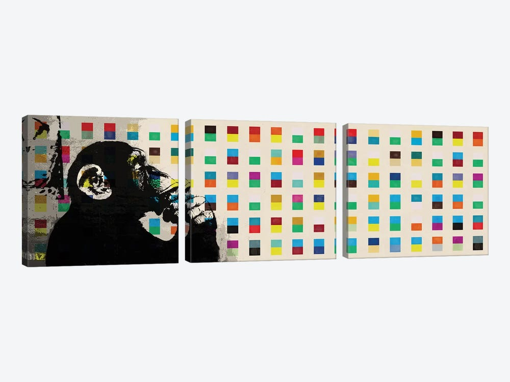 The Thinker Monkey Color Dots Panoramic by Banksy 3-piece Canvas Print