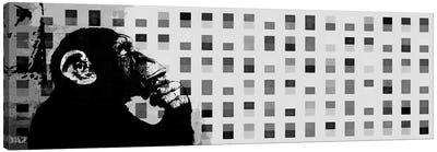 The Thinker Monkey Grayscale Dots Panoramic Canvas Print #2012C