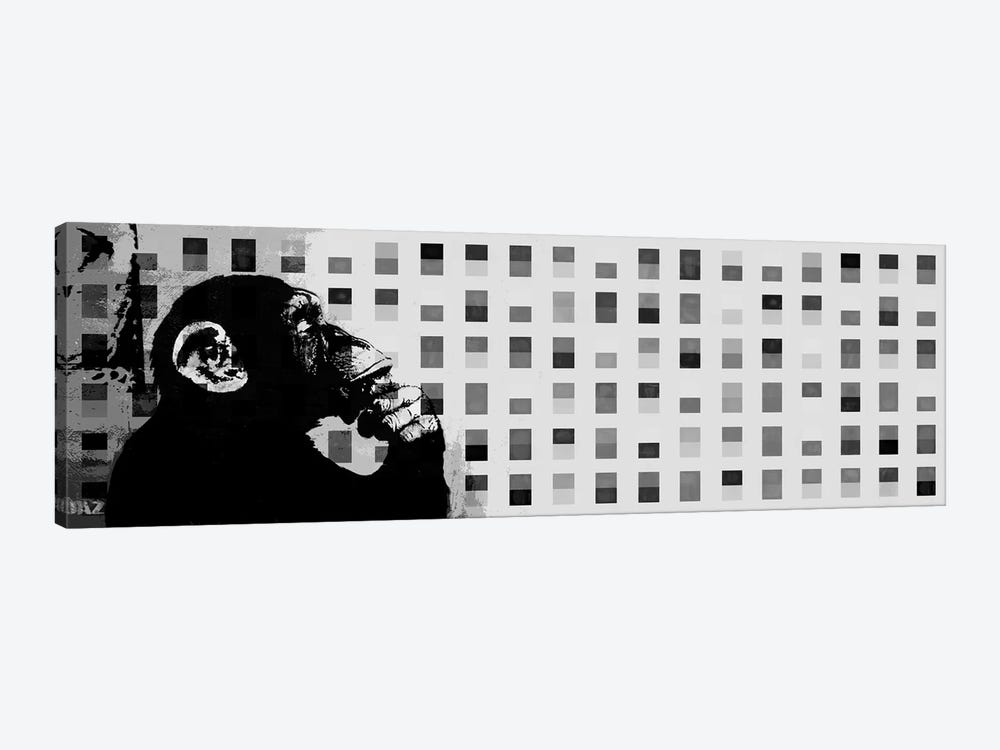The Thinker Monkey Grayscale Dots Panoramic by Unknown Artist 1-piece Canvas Artwork