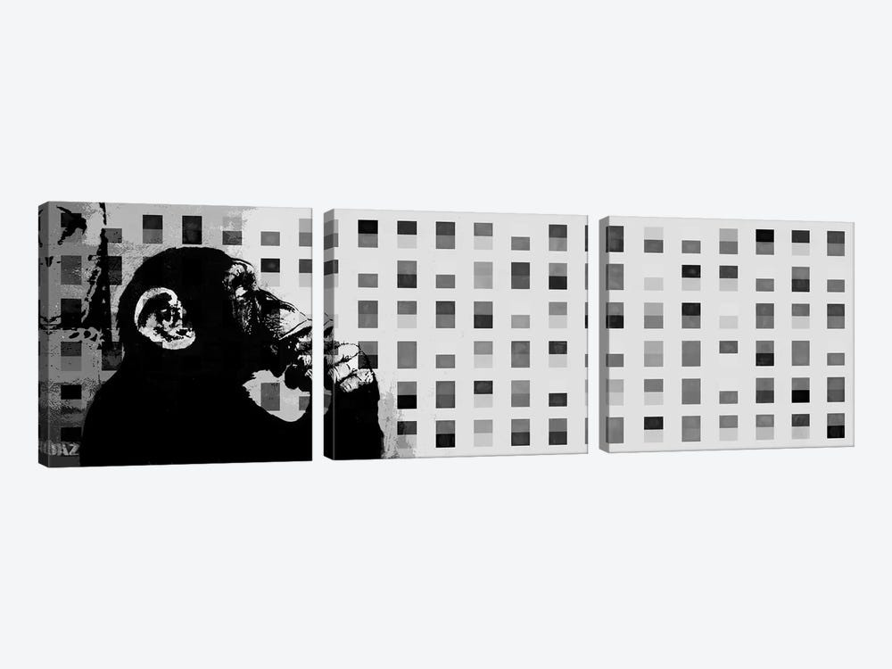 The Thinker Monkey Grayscale Dots Panoramic by Unknown Artist 3-piece Canvas Wall Art