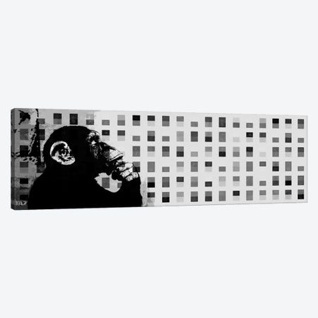 The Thinker Monkey Grayscale Dots Panoramic 3-Piece Canvas #2012C} by Unknown Artist Art Print
