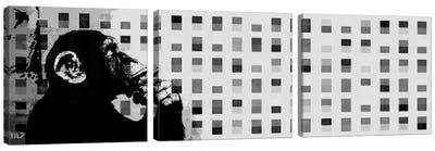 The Thinker Monkey Grayscale Dots Panoramic Canvas Art Print