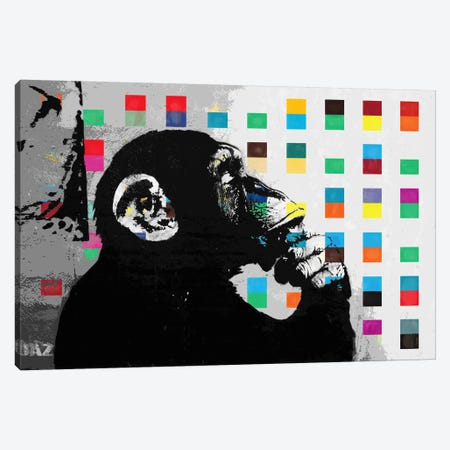 The Thinker Monkey Dots Close Up Canvas Print #2012E} by Banksy Canvas Art