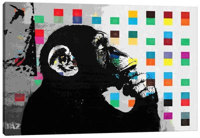The Thinker Monkey Dots Close Up Canvas Art Print