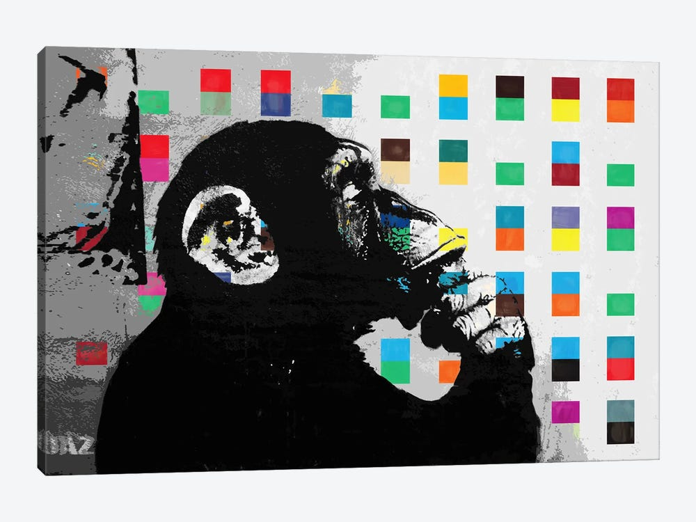 The Thinker Monkey Dots Close Up by Banksy 1-piece Canvas Art