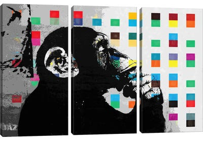 The Thinker Monkey Dots Close Up by Banksy Canvas Art