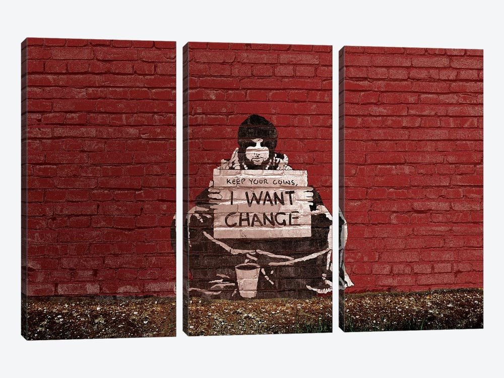 Keep Your Coins. I Want Change By Meek by Banksy 3-piece Canvas Wall Art