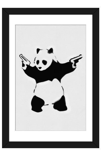 Panda With Guns Framed Art Print