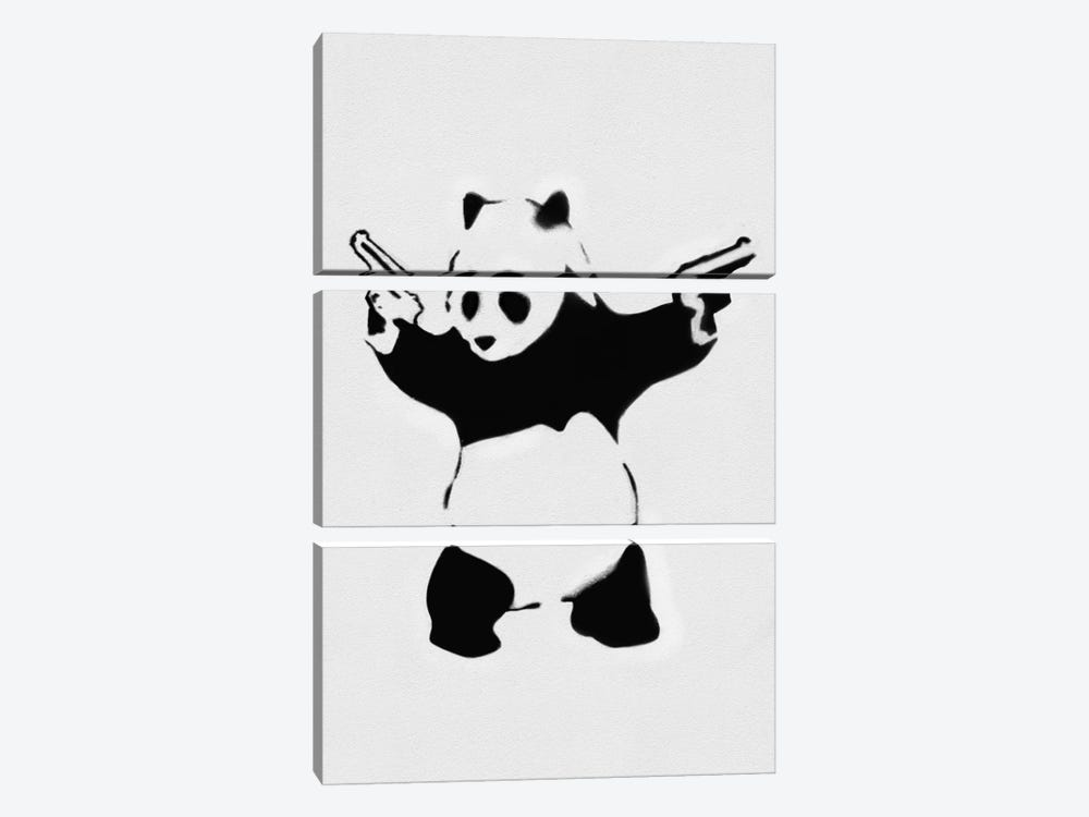 Panda With Guns by Unknown Artist 3-piece Canvas Artwork