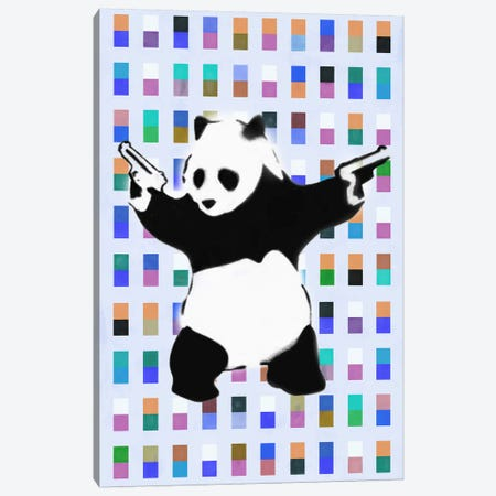 Panda with Guns Color Dots Canvas Print #2075B} by Banksy Canvas Artwork