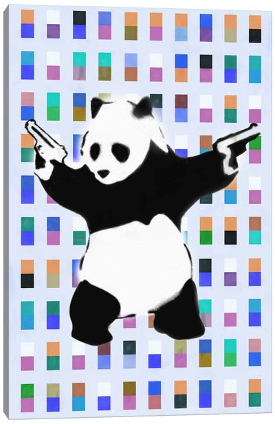 Panda with Guns Color Dots Canvas Art Print