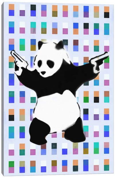 Panda with Guns Color Dots Canvas Art Print