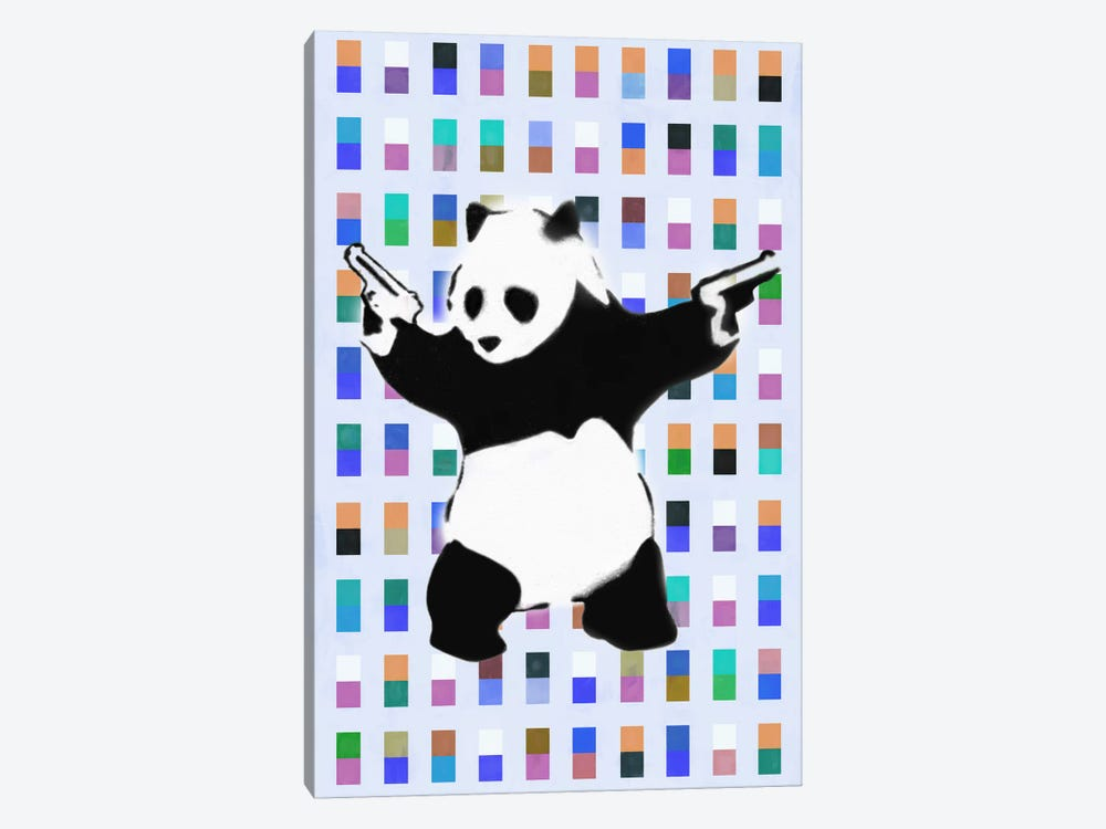 Panda with Guns Color Dots by Unknown Artist 1-piece Canvas Artwork