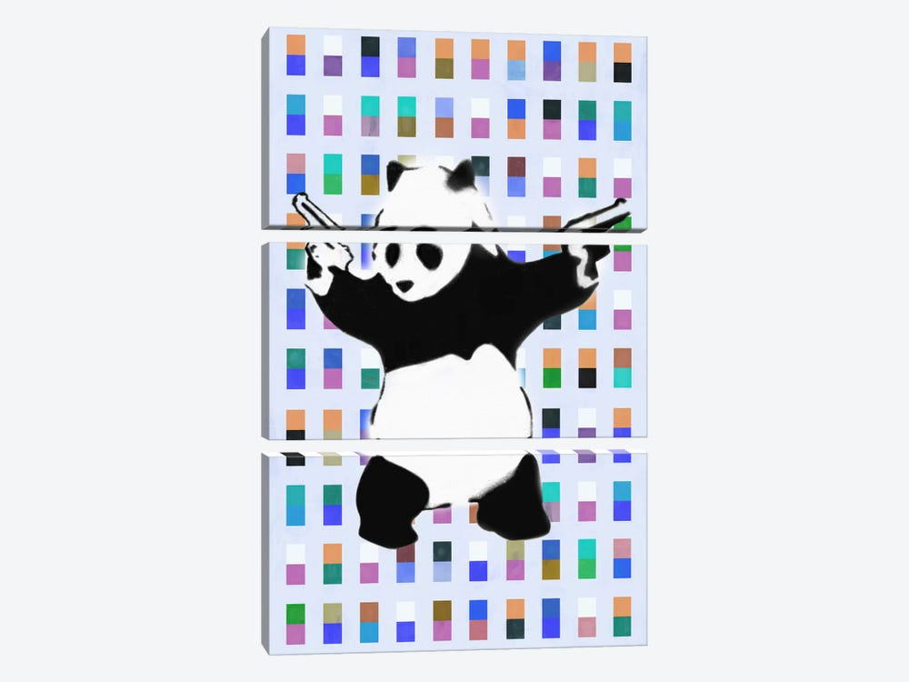 Panda with Guns Color Dots by Unknown Artist 3-piece Canvas Art