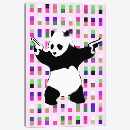 Panda with Guns Acid Dots Canvas Print #2075C} by Unknown Artist Canvas Artwork