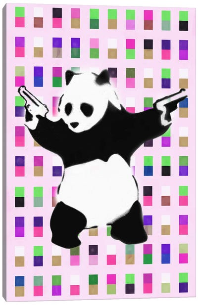 Panda with Guns Acid Dots Canvas Art Print