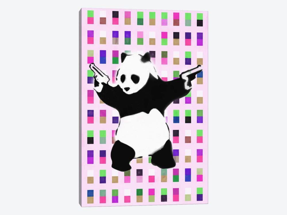 Panda with Guns Acid Dots by Unknown Artist 1-piece Canvas Print